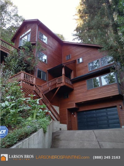 exterior stain project in marin